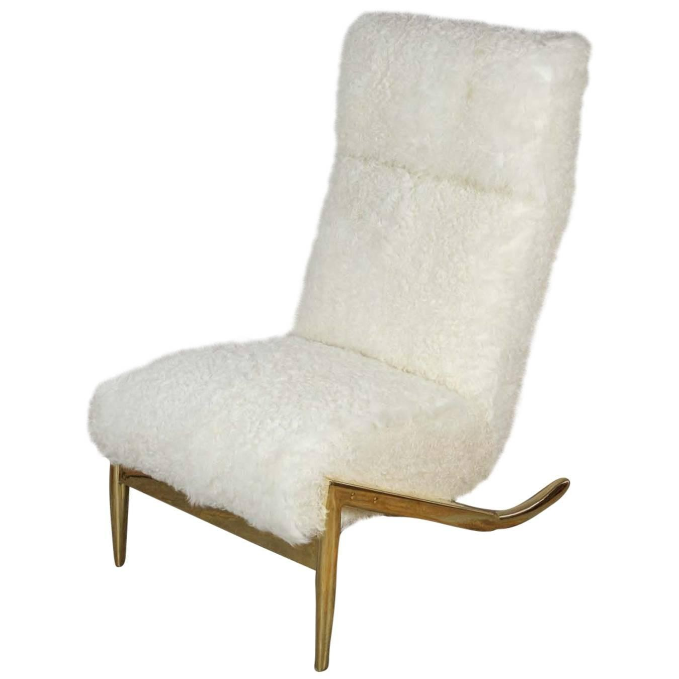 Slipper Chair In Brass With Curly Goat Furniture