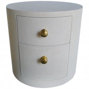 Italian Inspired Linen Wrapped Round Nightstand