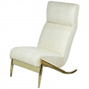 Slipper Chair in Brass with Faux Python