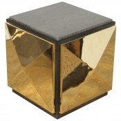 Wood and Brass Tile Side Table