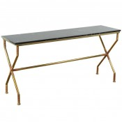 Brass and Raffia Console