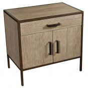 Distressed Fir Nightstand with Faux Bronze Framing