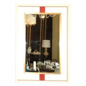 Negative Space Mirror with Leather Strut