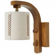 Oak Sconce with Hand-Stitched Linen Shade