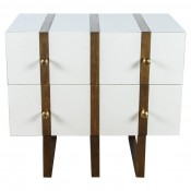 Banded Two Drawer Chest in Lacquer Finish and Inset Iron Band