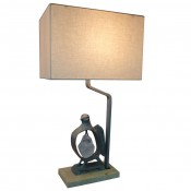 Cast Bronze Rock Dove Lamp in Silvered Bronze