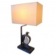 Cast Bronze Rock Dove Lamp in Light Verdigris