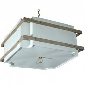 Shaded Scalloped Fixture with Wood Banding & Bottom Diffuser