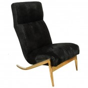 Slipper Chair in Brass with Laser Cut Cowhide Python