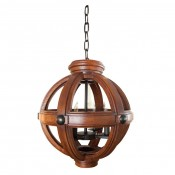 Carved Oak Sphere Chandelier Small Scale
