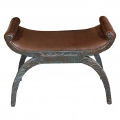 Neoclassical Style Bench in Faux Bronze and Leather