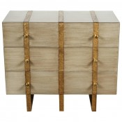 Banded Three Drawer Chest in Bleached Oak and with Inset Iron Band