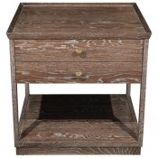 Two-Tier Nightstand in Ceruse Oak