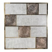 Art Wall Panel with Brass, Distressed Silver Leaf and Textured Finish