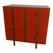Banded Three Drawer Chest in Custom Lacquered Finish and Inset Iron Band