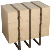 Banded Three Drawer Chest in Bleached Douglas Fir and with Inset Iron Band