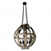 Carved Oak Sphere Chandelier Large Scale Plain