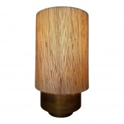 Modern Brass Table Lamp with Grasscloth Shade