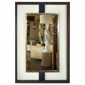 Negative Space Mirror with Distressed Finish & Horsehair