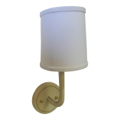 Leather Wrapped Top-Stitched Sconce - Cream