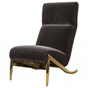 Slipper Chair in Brass with Mohair