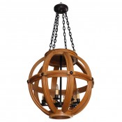 Carved Oak Sphere Chandelier Large Scale